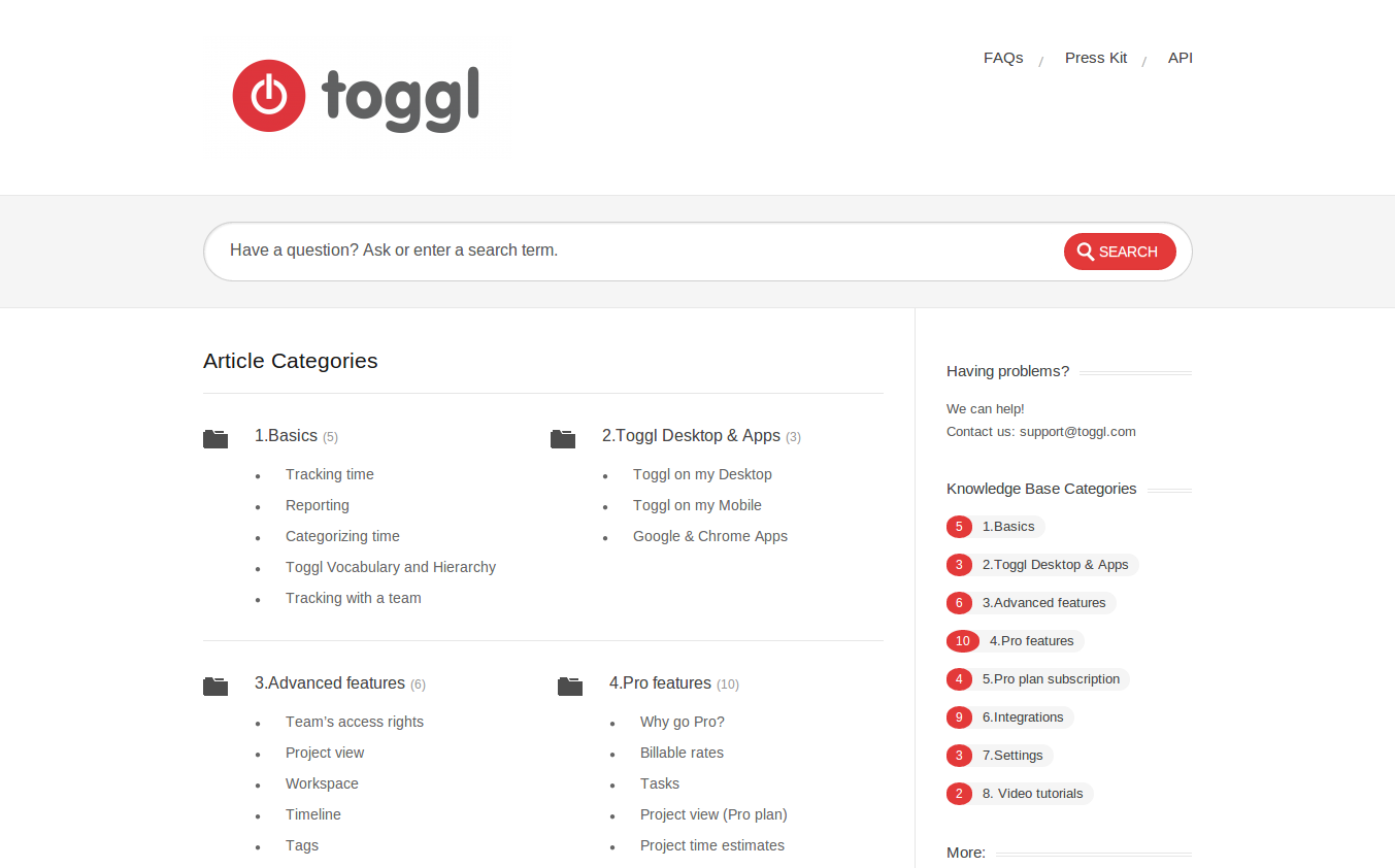 Toggl Brand New Knowledge Base
