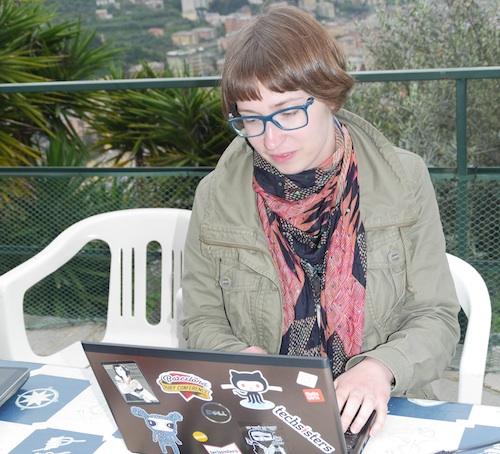 Janika hacking away