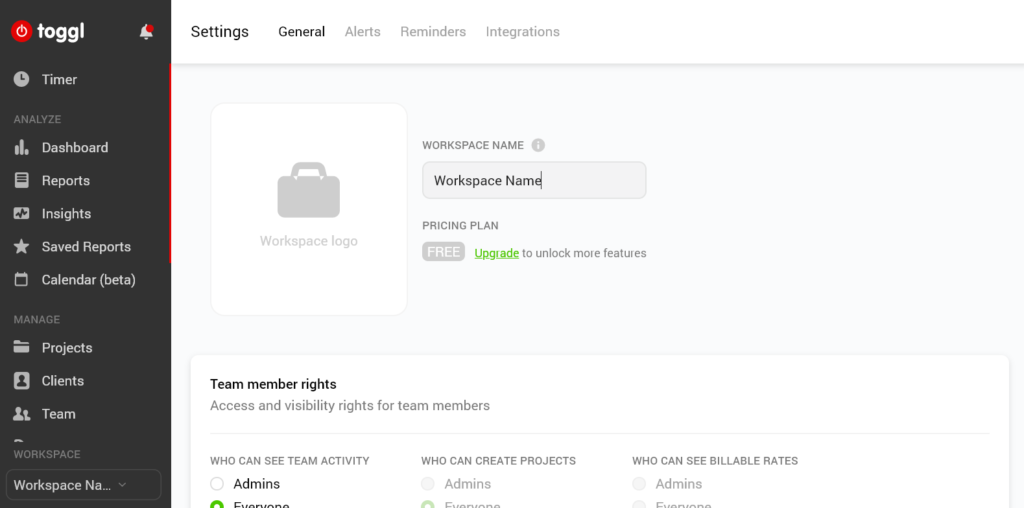 Toggl Workspace Settings screenshot