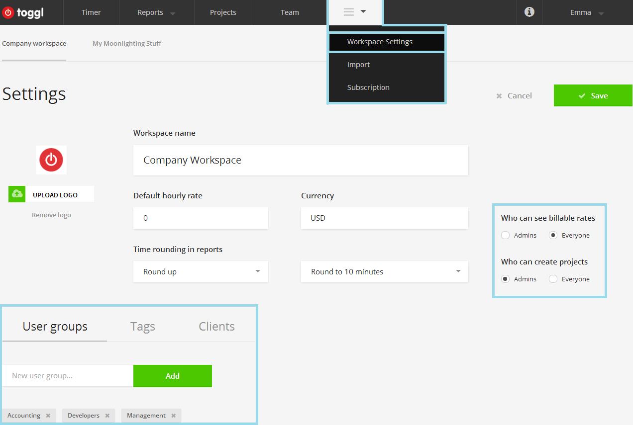 workspace settings page overview