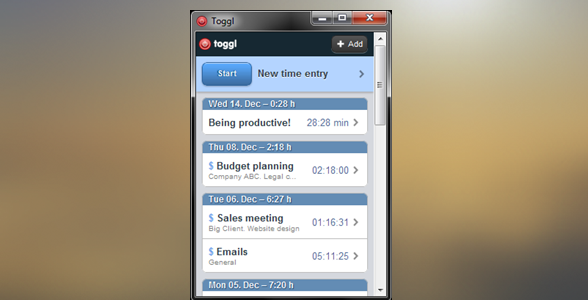 Flash-back. Toggl Desktop version from 2012