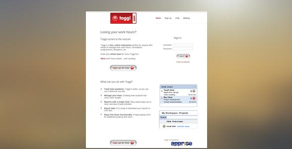 Toggl landing page, back in 2007, design.