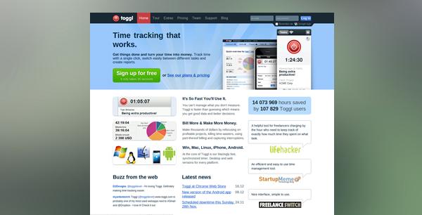 Toggl public web in 2010