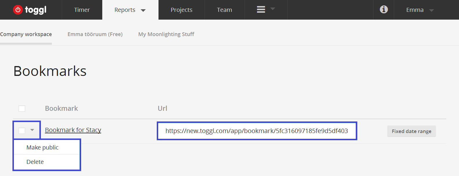 bookmarks in page