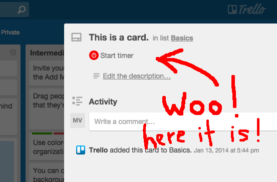 Toggl Button extension for Trello