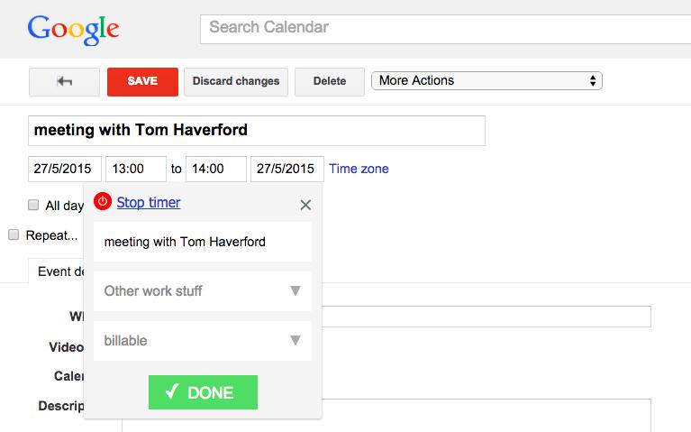 Toggl Button tracking inside Google Calendar