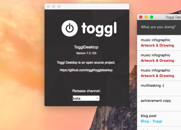 Toggl Desktop beta channel selection box