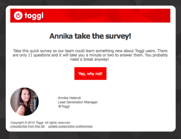 Toggl user survey email example