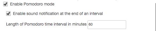 Toggl Button Pomodoro timer settings