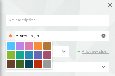 How to add colors to projects in Toggl Desktop time tracker