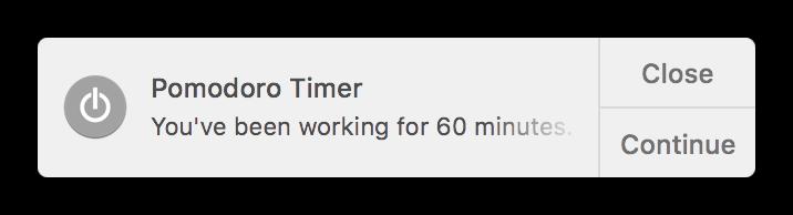 Toggl Desktop Pomodoro notification