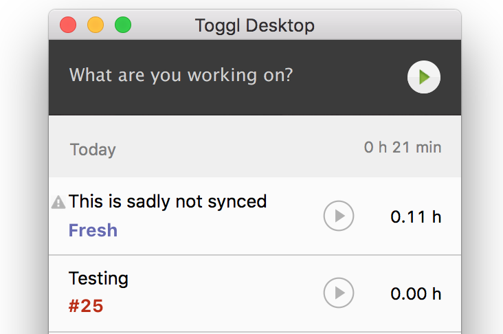 Toggl Desktop unsynced icon