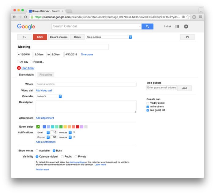 google calendar time tracking