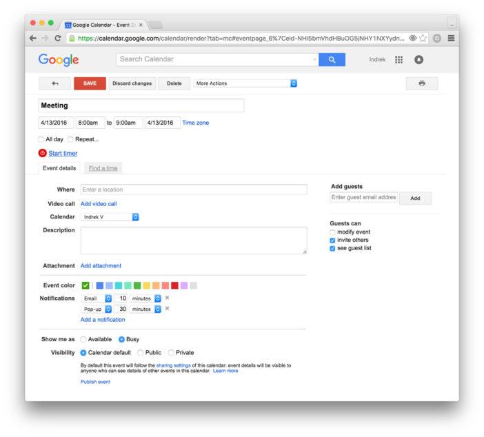 google calendar time tracking