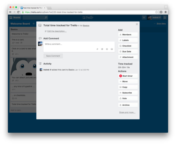 trello toggl time tracking