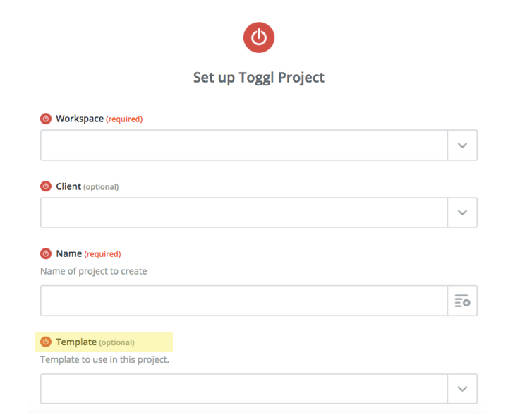 creating toggl project from template with the zapier integration