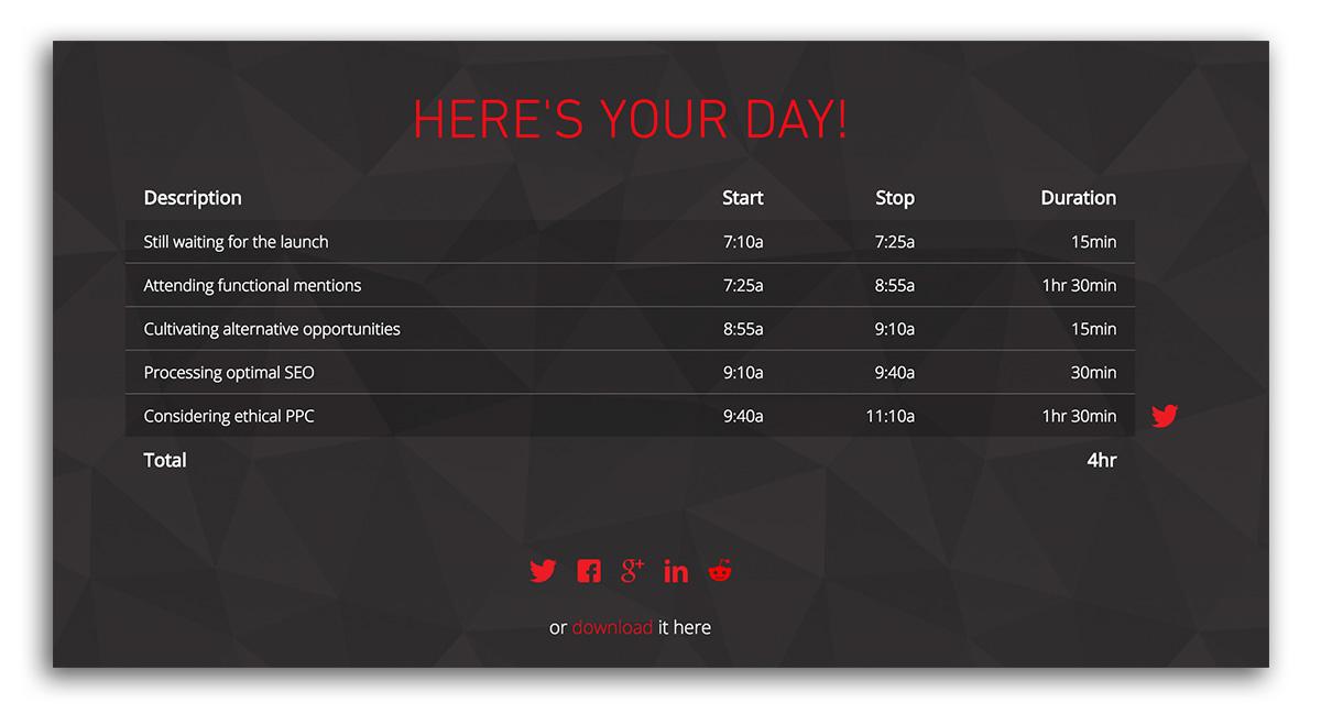 Make My Day Timesheet Entry Generator