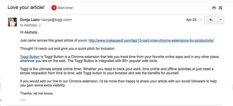 Chrome extension press e-mail example - Toggl