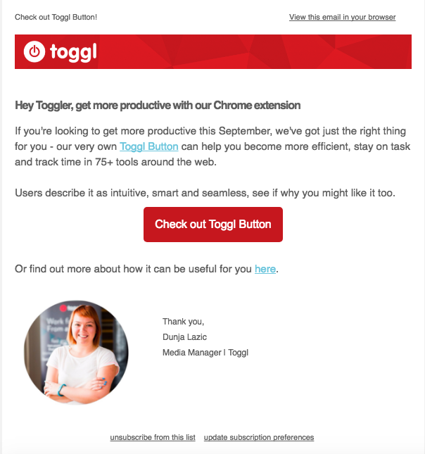 user outreach e-mail campaign example - Toggl