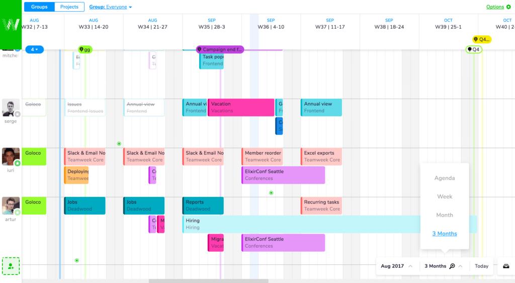 Teamweek roadmap