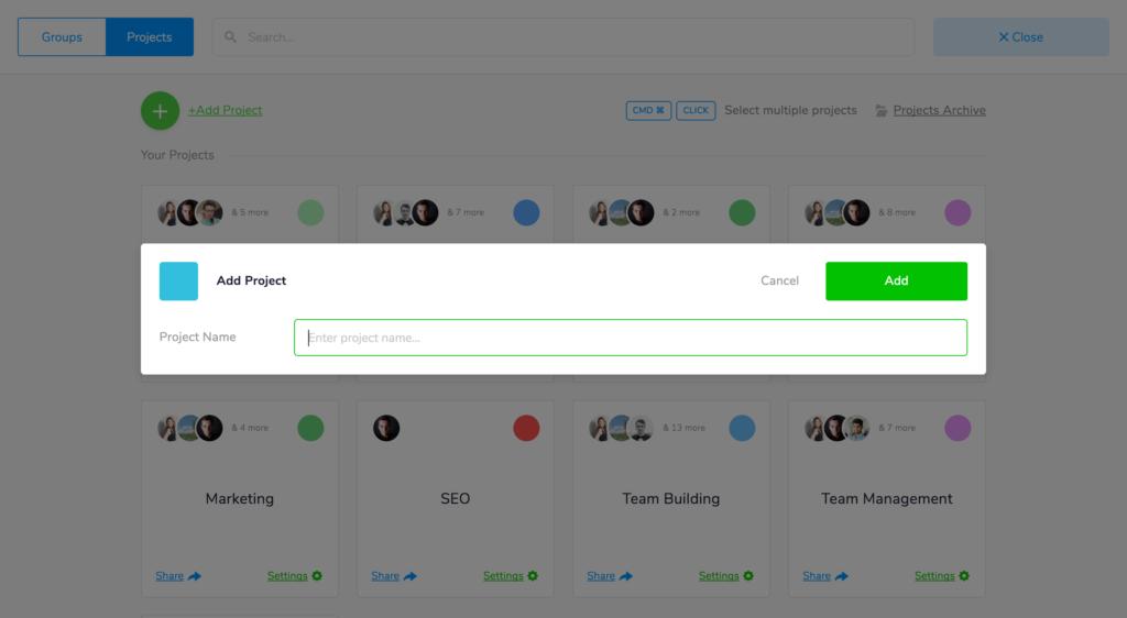 marketing projects teamweek