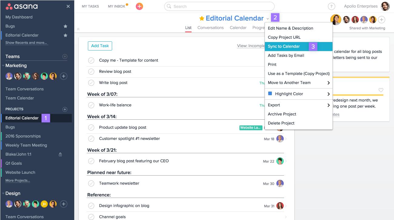 Team Collaboration Tool: Asana screenshot