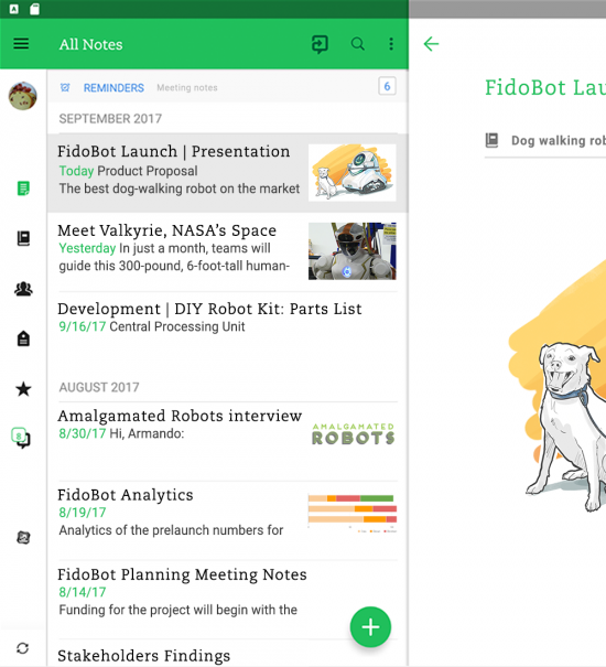 Team Collaboration Tool: Evernote screenshot