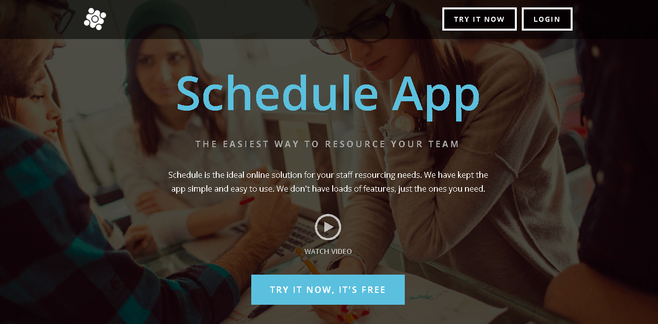 Schedule App Front Page