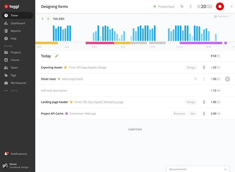 Team Collaboration Tool: Toggl screenshot