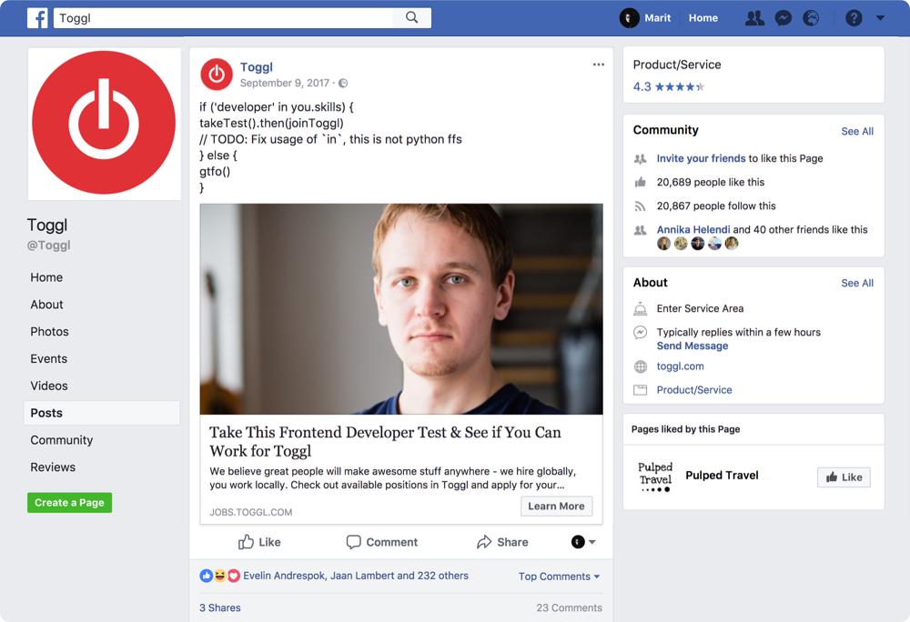 Sorcing Frontend Developers In Facebook