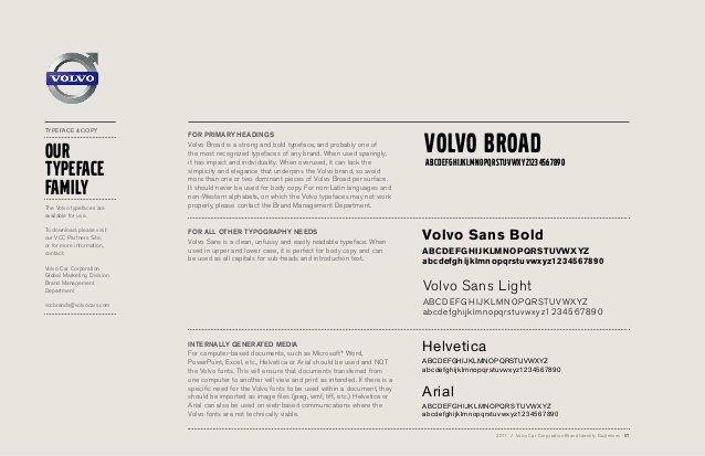 Volvo Brand Book Typography guidelines