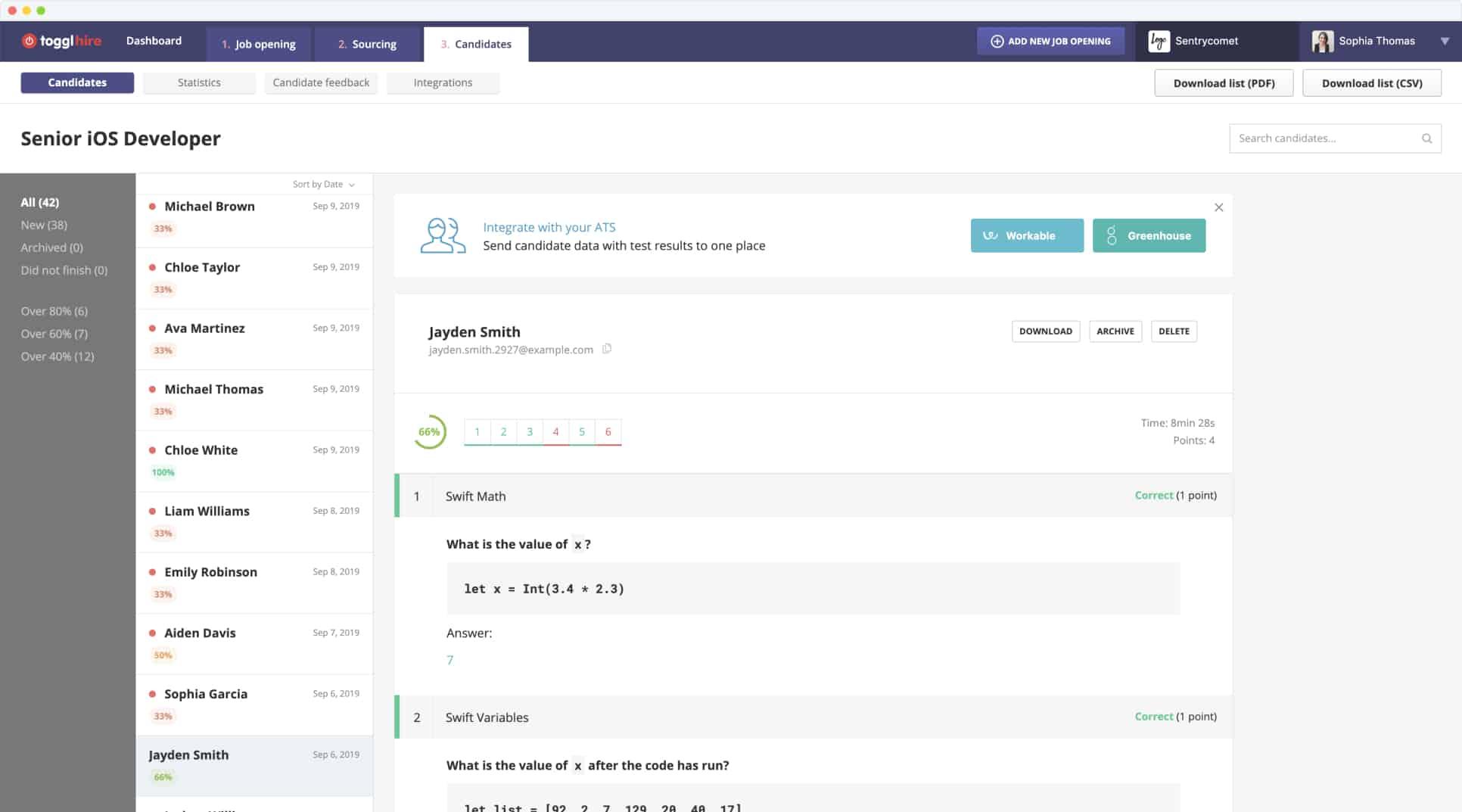 Toggl Hire Dashboard: Results