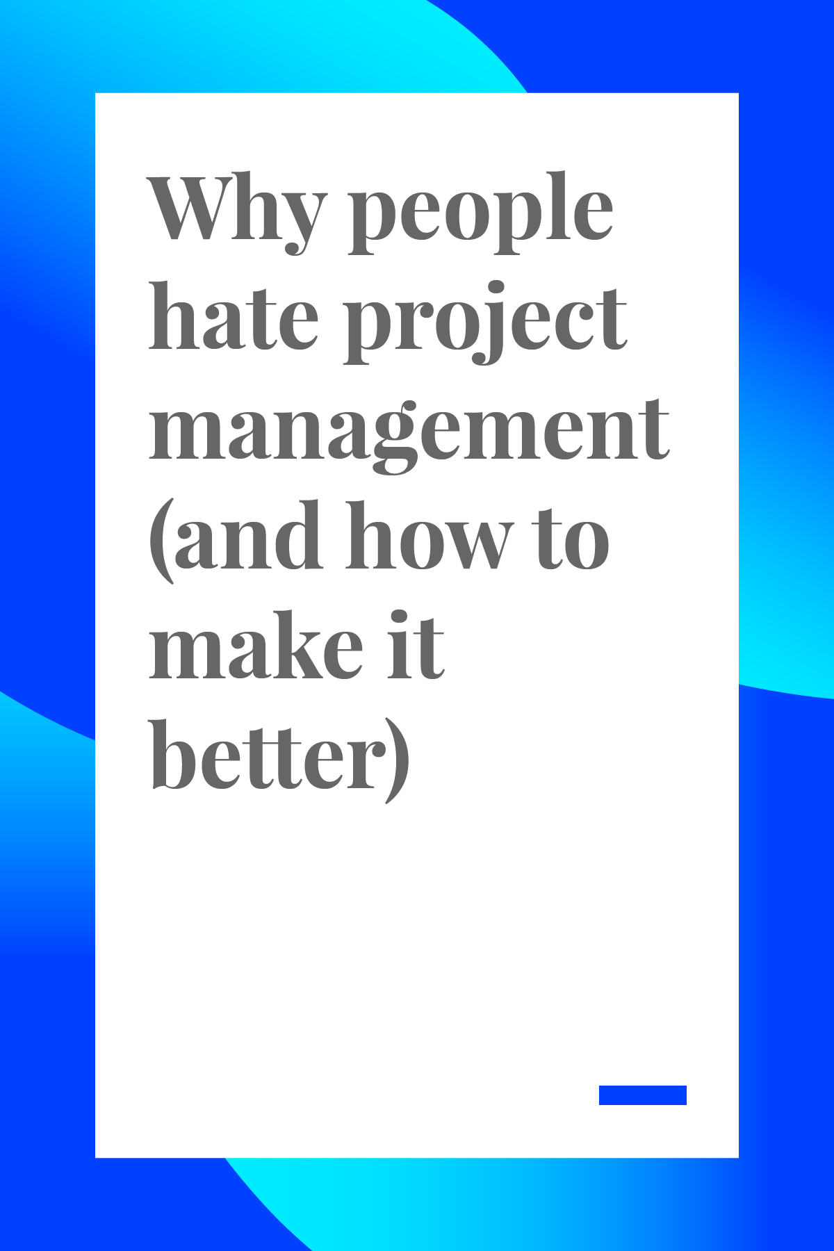 Feeling burnt out on project management? We here ya, here's a few ways to make it better. #projectmanagement #projectmanager