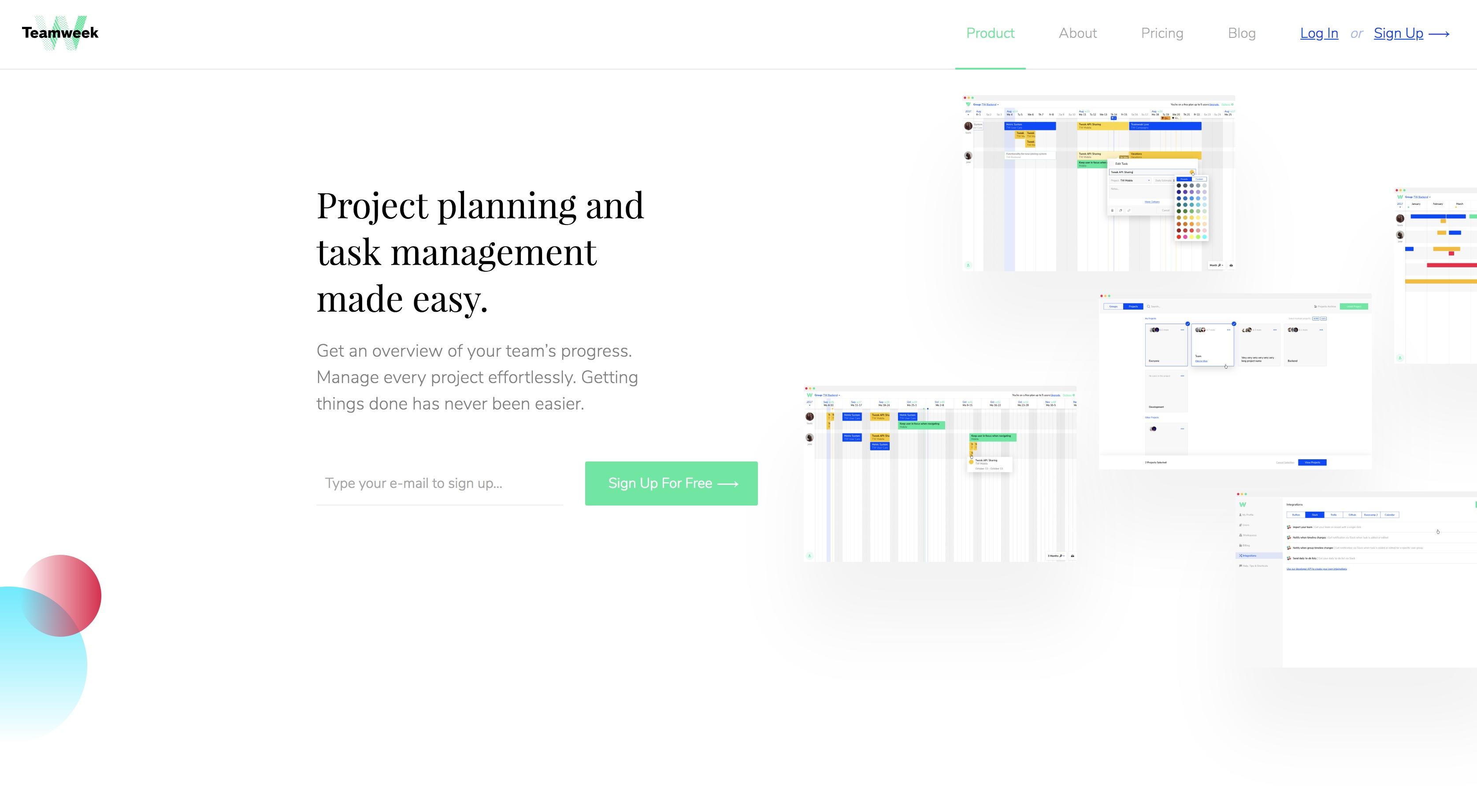project management apps Teamweek