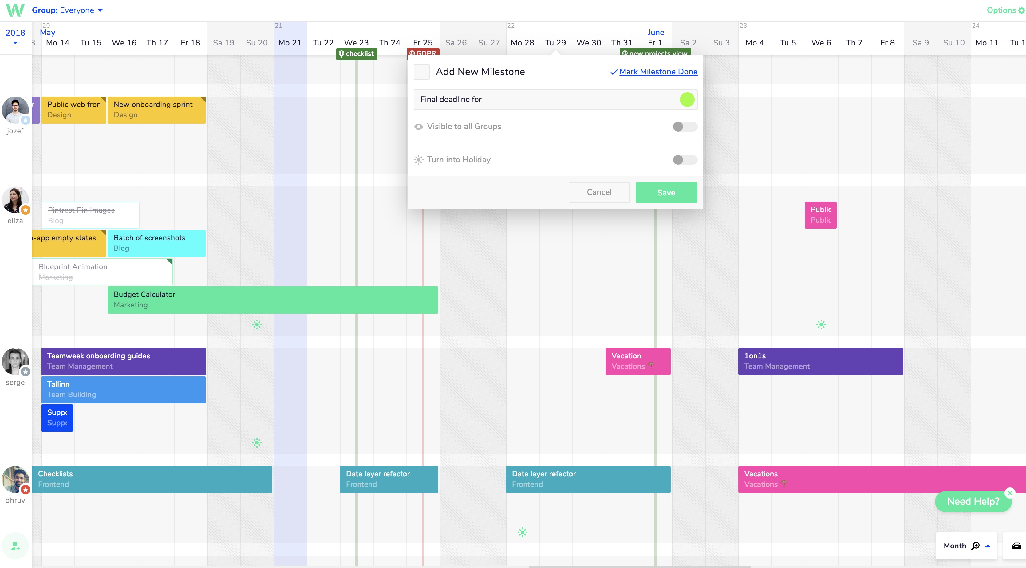 Use milestones in your project timeline