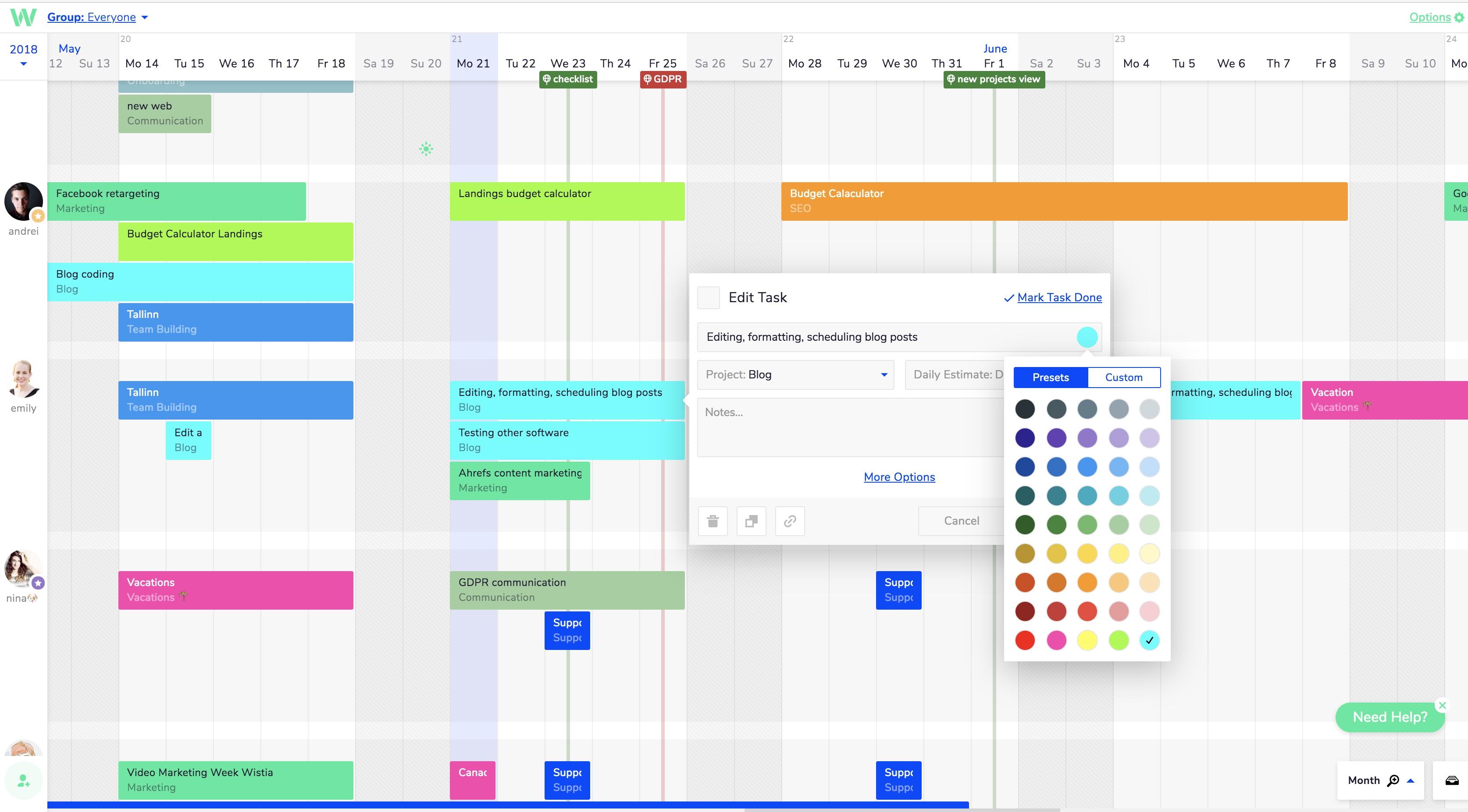 Teamweek color code tasks