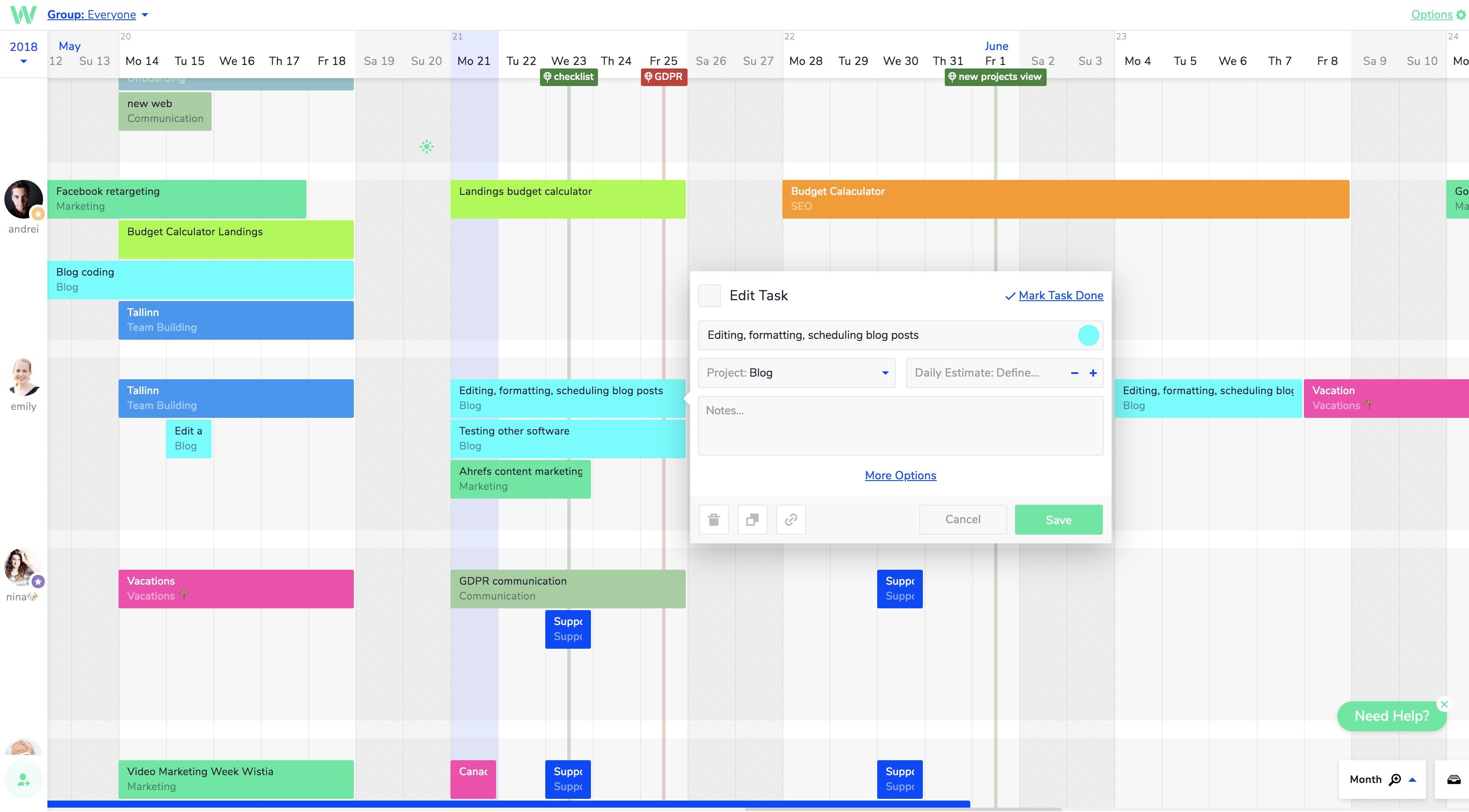 Teamweek project timeline