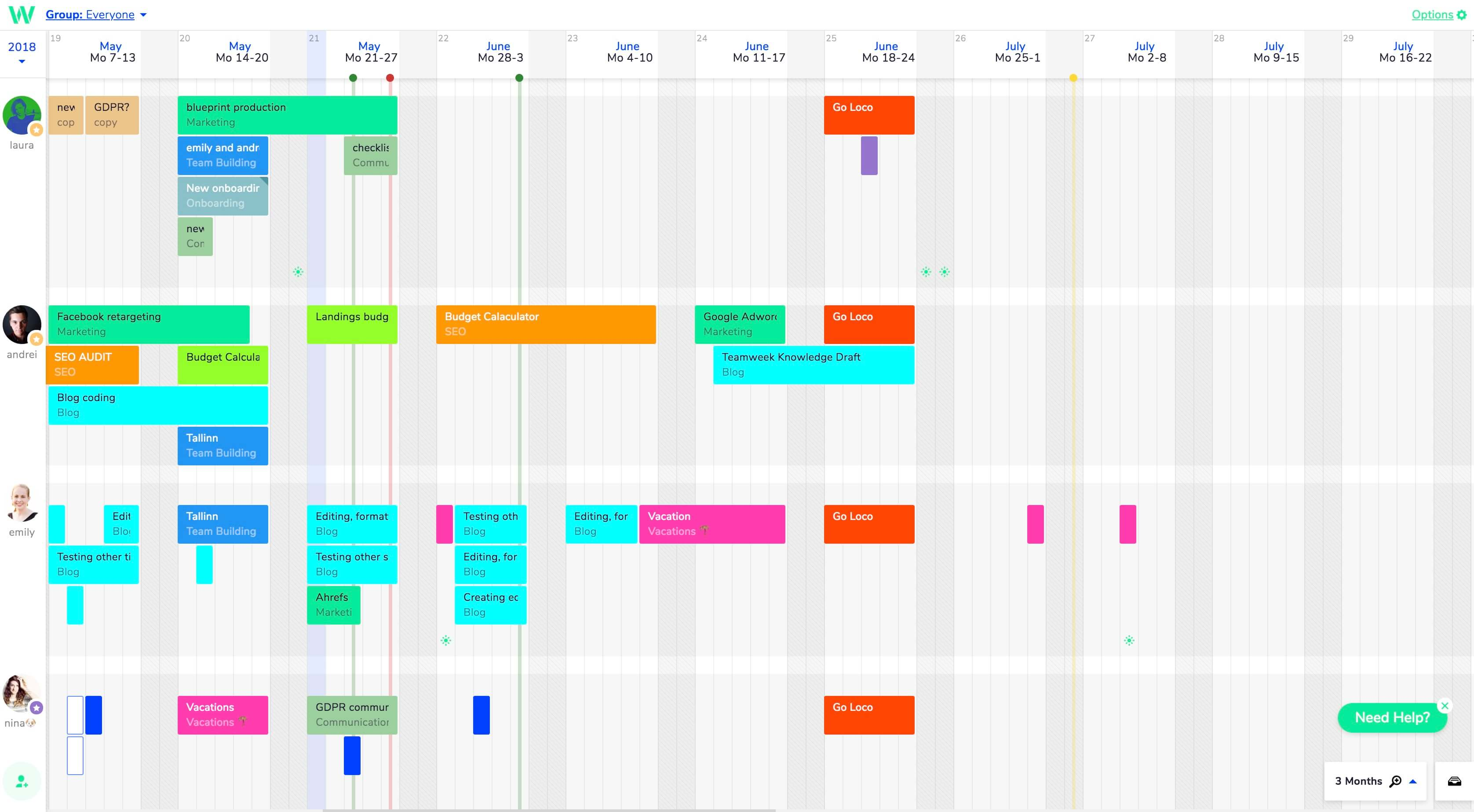 timeline visualization with Teamweek