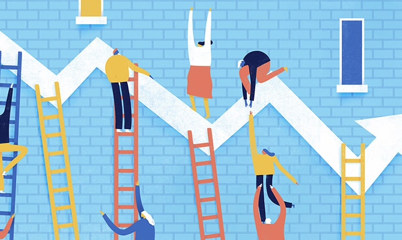 Illustration of characters climbing ladders to get to a line graph