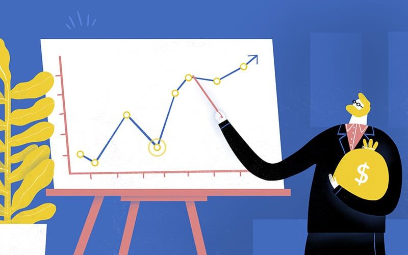 Illustration of man explaining a line chart while holding a bag of money