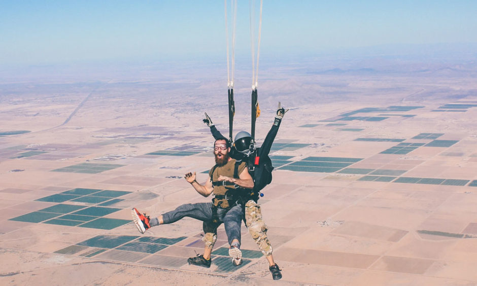 Two people doing tandem skydiving