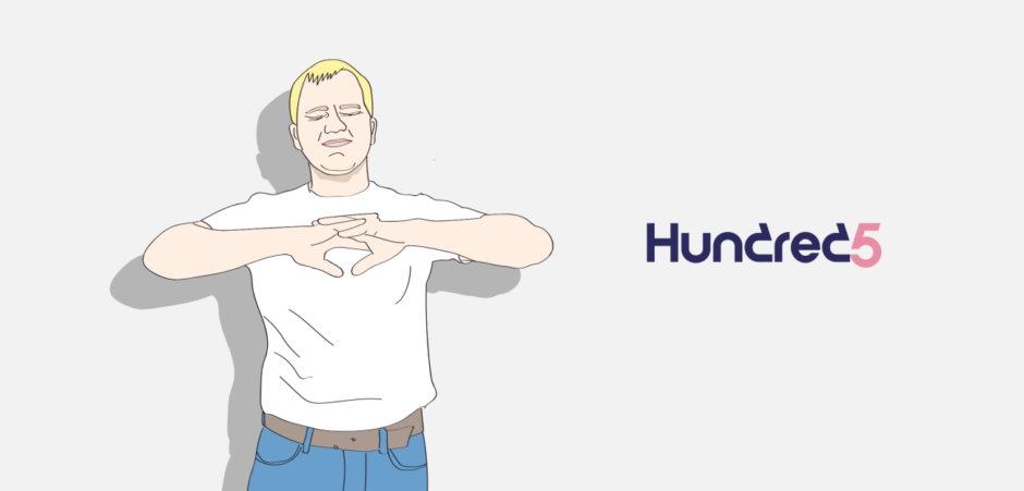 Illustration of a man with the Hundred5 logo
