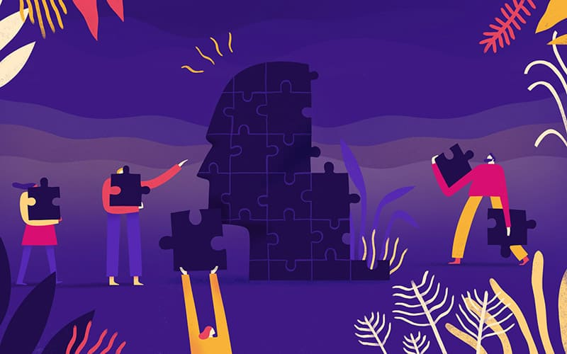 Illustration of people putting together puzzle pieces