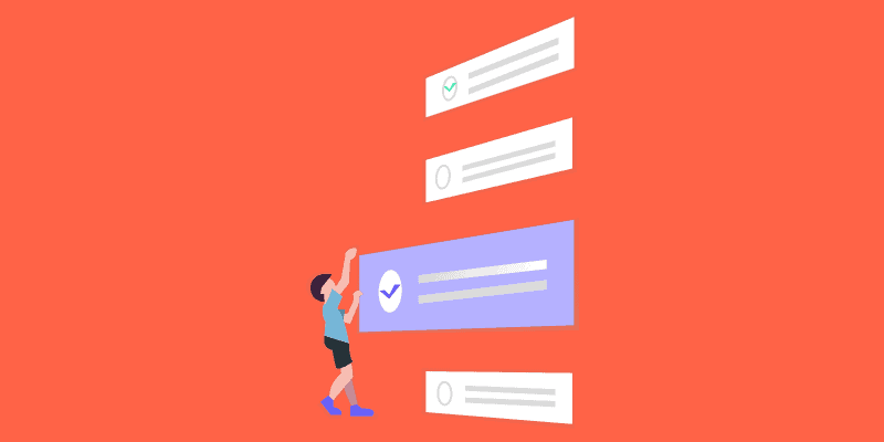 Illustration of a character holding a UI component