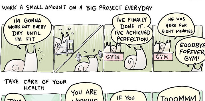 A snippet of Time Management As Told By Various Slow Animals Comic