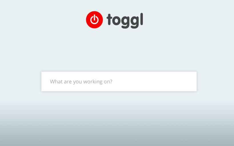 Screenshot of Toggl's timer asking you what you are working on