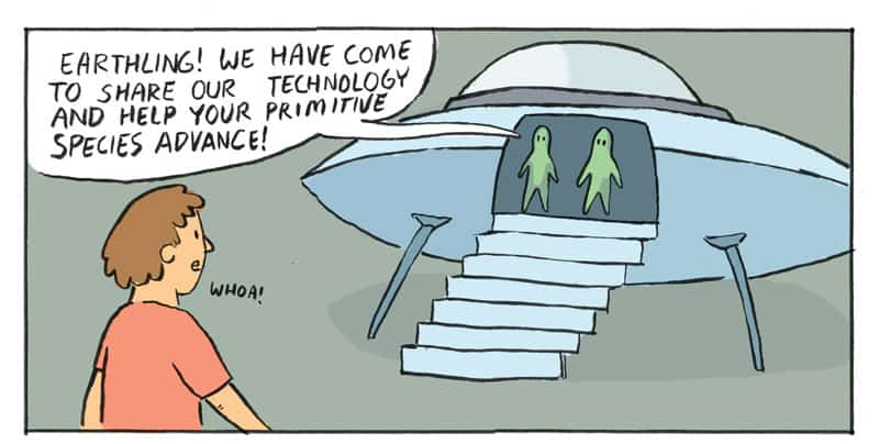 Snippet of What Alien Technology Looks Like in A Parallel Universe comic