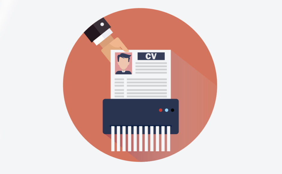 Illustration of a hand shredding a CV