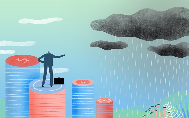Illustration of man standing on stacks of coins, looking at an incoming storm