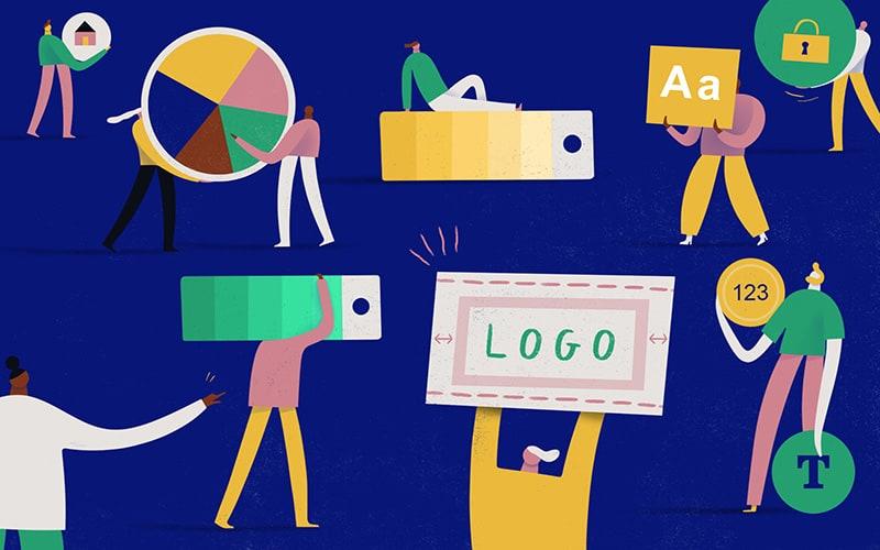 Illustration of elements of a brandbook